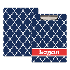 Navy Moroccan Personalised Clipboard