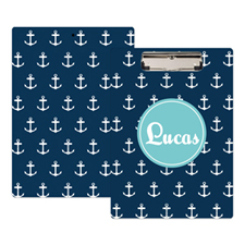 Navy Anchor Personalised Clipboard