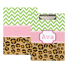 Chevron Leopard Print Personalised Clipboard