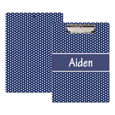 Navy Polka Dot Personalised Clipboard
