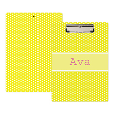 Yellow Polka Dot Personalised Clipboard
