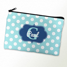 Aqua Polka Dot Personalised Cosmetic Bag