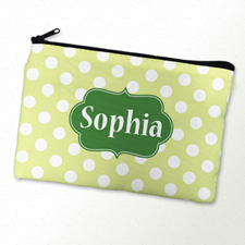 Green Polka Dot Personalised Cosmetic Bag