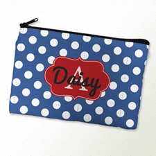 Navy Polka Dot Personalised Cosmetic Bag