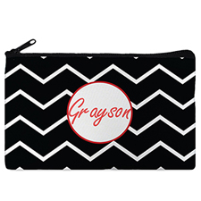 Black Chevron Red Frame Personalised Cosmetic Bag
