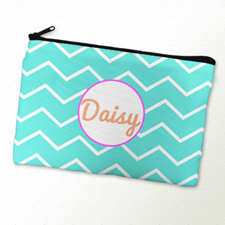 Aqua Chevron Pink Frame Personalised Cosmetic Bag