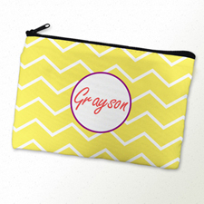 Lime Chevron Purple Frame Personalised Cosmetic Bag