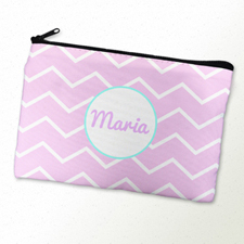 Pink Chevron Turquoise Frame Personalised Cosmetic Bag