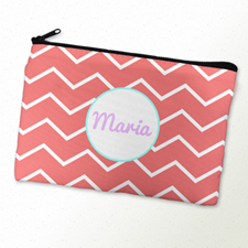 Carol Chevron Aqua Frame Personalised Cosmetic Bag