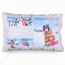 Stripe Five Collage Personalised Photo Pillowcase