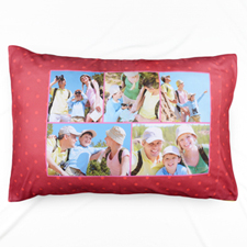 Red Polka Dot Collage Personalised Pillowcase