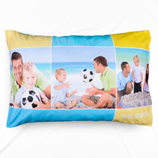 Colourful Three Collage Personalised Photo Pillowcase