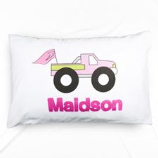 Pink Pickup Truck Personalised Name Pillowcase