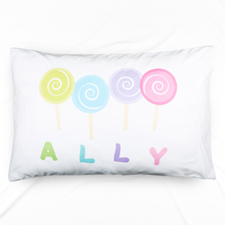 Lollipop Personalised Name Pillowcase For Kids