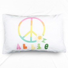 Peace Sign Personalised Name Pillowcase