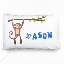 Monkey Personalised Name Pillowcase For Boys