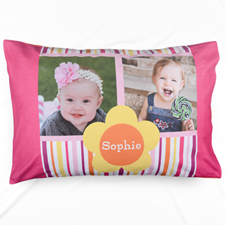 Stripe And Flower Collage Personalised Pillowcase