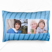 Blue Stripe Two Collage Personalised Photo Pillowcase
