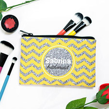 Yellow Glitter Chevron Personalised Cosmetic Bag