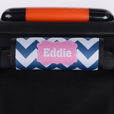 Navy Chevron Pink Personalised Luggage Handle Wrap