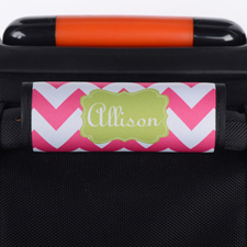 Hot Pink Chevron Lime Personalised Luggage Handle Wrap