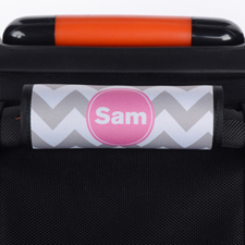 Grey Chevron Pink Personalised Luggage Handle Wrap
