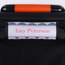Peacock Chevron Pink Personalised Luggage Handle Wrap