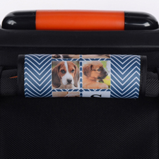 Navy Chevron Collage Personalised Luggage Handle Wrap