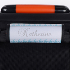 Aqua Hounds Tooth Personalised Luggage Handle Wrap