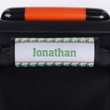 Green Hounds Tooth Personalised Luggage Handle Wrap