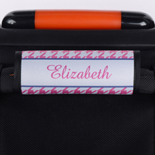 Pink Hounds Tooth Personalised Luggage Handle Wrap