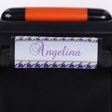 Purple Hounds Tooth Personalised Luggage Handle Wrap