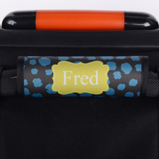 Blue Yellow Leopard Personalised Luggage Handle Wrap