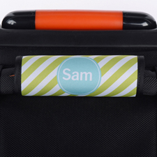 Lime Stripe Personalised Luggage Handle Wrap