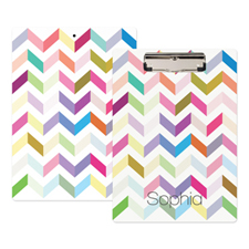 Colourful Zig Zag Personalised Clipboard