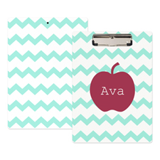 Aqua Chevron Apple Personalised Clipboard