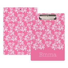 Pink Damask Personalised Clipboard