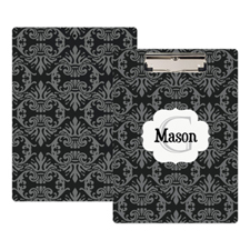 Black Damask Personalised Clipboard