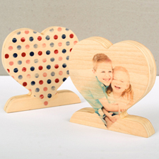 Classic Polka Dot Wooden Photo Heart Decor