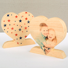 Patriotic Star Wooden Personalised Photo Heart Decor