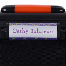 Navy Lime Quatrefoil Personalised Luggage Handle Wrap