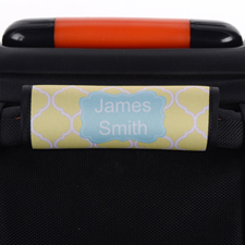 Yellow Quatrefoil Blue Personalised Luggage Handle Wrap