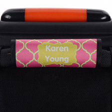 Pink Lime Quatrefoil Personalised Luggage Handle Wrap