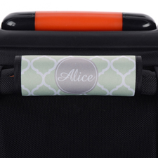 Mint Quatrefoil Grey Personalised Luggage Handle Wrap