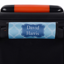 Blue Lime Quatrefoil Personalised Luggage Handle Wrap