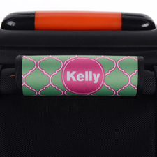 Peacock Quatrefoil Pink Personalised Luggage Handle Wrap