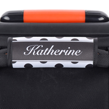 Black And White Polka Dot Personalised Luggage Handle Wrap
