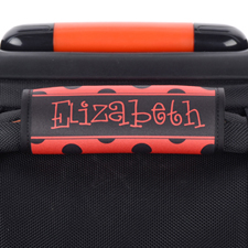 Black And Red Polka Dot Personalised Luggage Handle Wrap