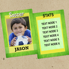 Green Soccer Personalised Photo Trading Cards  Set Of 12
