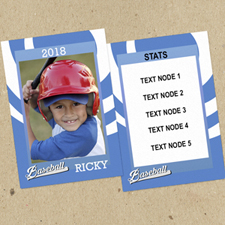 Swirl Baseball Personalised Photo Trading Cards Blue  Set Of 12